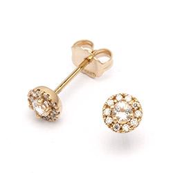 Guld ørestikker med 20 brillantslebne diamanter