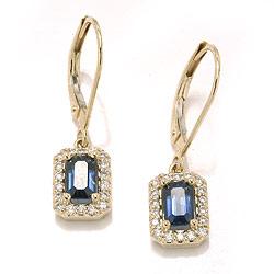 Guld øreringe med diamanter og safirer