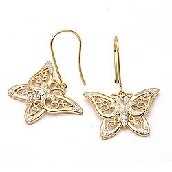 Øreringe i guld 9 karat med zirkoner, sommerfugle