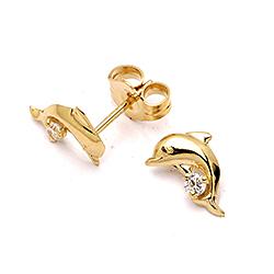 Delfin ørestikker i guld med zirkon