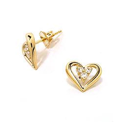Guld ørestikker med diamanter, 14 karat guld, hjerteformet