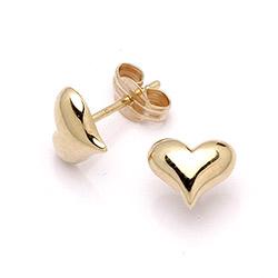 Hjerteformede ørestikker i guld