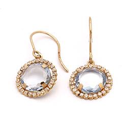 Runde øreringe i 14 karat guld med zirkoner