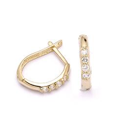 Billige øreringe i guld med zirkoner