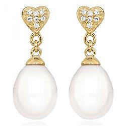 Billige perle øreringe i 9 karat guld