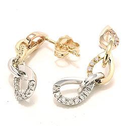 Diamant ørestikker i guld og hvidguld og rødguld
