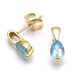 Guld ørestikker med topas - guld smykke