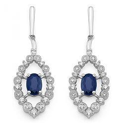 Øreringe med diamanter og safir i hvidguld