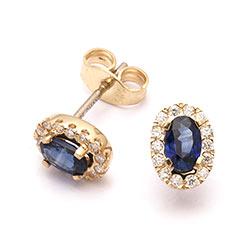Ørestikker med diamant og safir